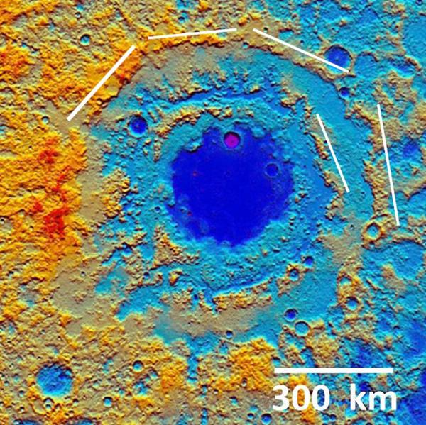 lunar impact basis Orientale topo map